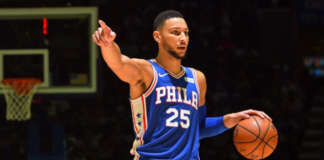 cropped ben simmons points dribbles