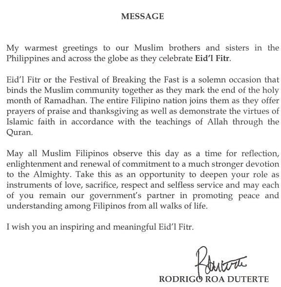 Eidf Fitr Message