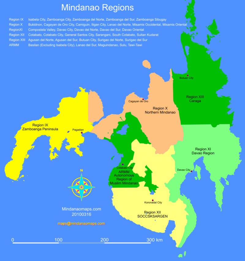 Mindanao map Regions