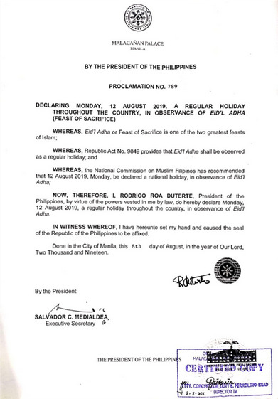 Aug 12 2019 regular holiday
