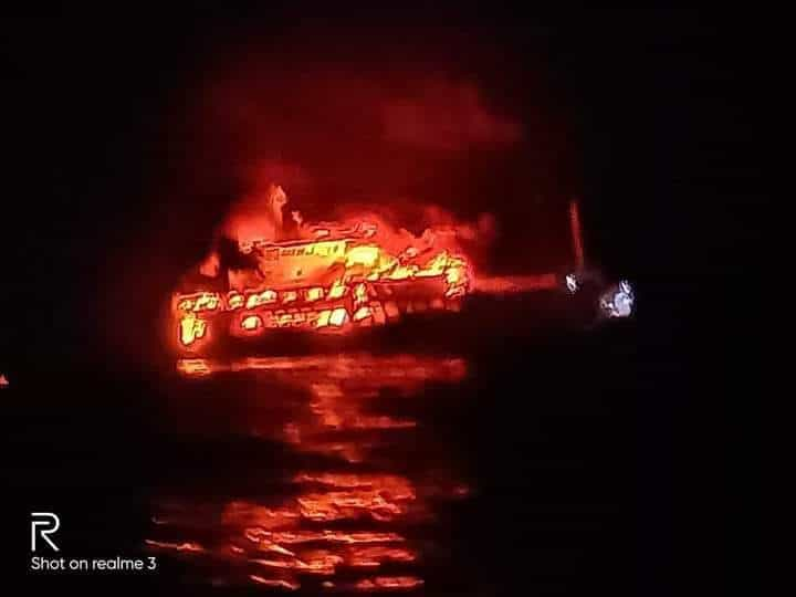 ship on fire dapitan