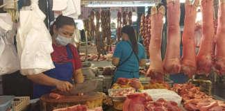 Market vendors Meat PORK PIG DA