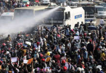 Myanmar riot protests rally